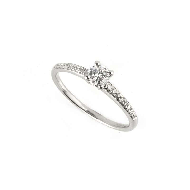 18k White Gold Round Brilliant Cut Diamond Ring 0.22ct H/SI1